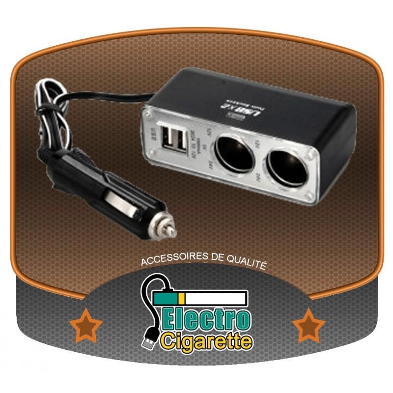 Adaptateur voiture double avec deux ports USB