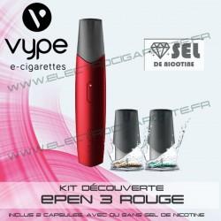 Kit découverte ePen 3 Rouge avec 2 cartouches aux sels de nicotine - Vuse (ex Vype)