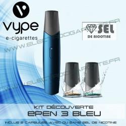 Kit découverte ePen 3 Bleu avec 2 cartouches avec sels de nicotine - Vype