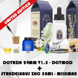 DotRDA Bleu Royal 24mm V1.5 - dotMod avec Strudelhaus 50ml - Milkman