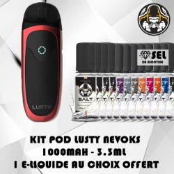 Kit Lusty Pod Rouge 3.3ml 1000mAh Nevoks avec 1 flacon Salt Le French Liquide offert