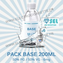 Kit Base 200 ml - 50% PG / 50% VG - 6mg Sel de Nicotine