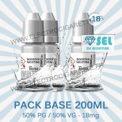Kit Base 200 ml - 50% PG / 50% VG - 18mg Sel de Nicotine