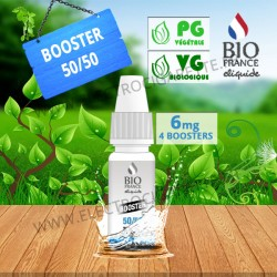 Pack 4 boosters 10ml pour avoir 6 mg de nicotine pour 100ml - Bio France - PG/VG 50/50