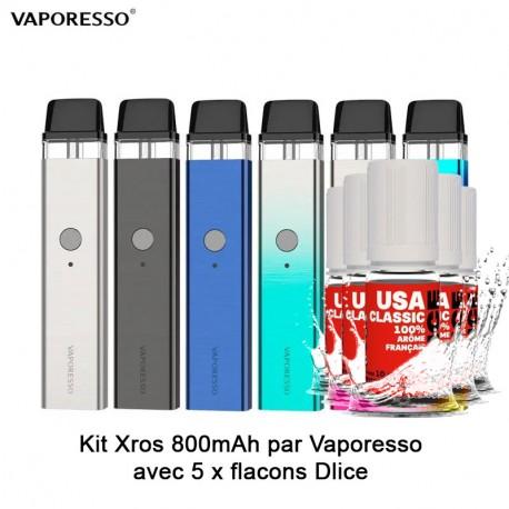 Kit XROS 800mAh - Vaporesso avec un Pack 5x DLice - 10 ml