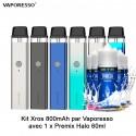 Kit XROS 800mAh - Vaporesso avec Premix Halo - 60 ml