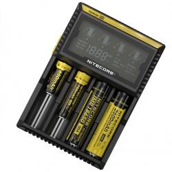 Chargeur Digicharger D4 Nitecore - Ecran LCD avec câble allume cigare, avec accus