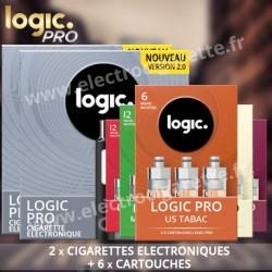 2 Cigarettes electroniques Logic Pro - Black Edition Soft Touch avec Cartouches