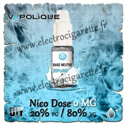 Base Neutre ZHC 0 MG - 20% PG / 80% VG - Vapolique