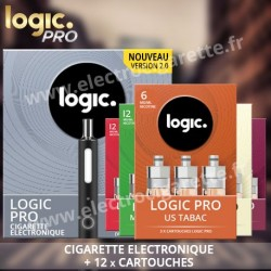 Cigarette electronique Logic Pro - Black Edition Soft Touch avec 4 packs de 3 x Cartouches