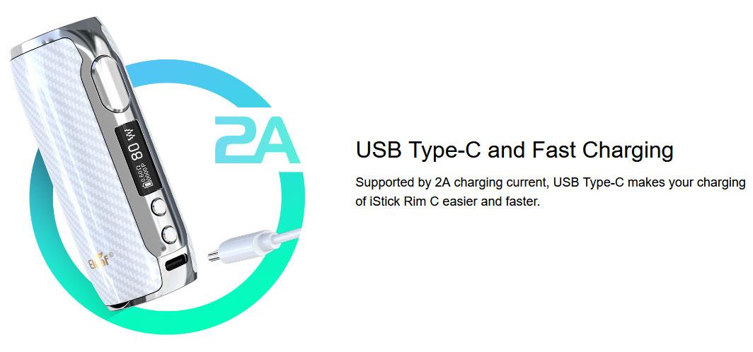 Mod Istick Rim-C 80W Eleaf - Rechargement USB
