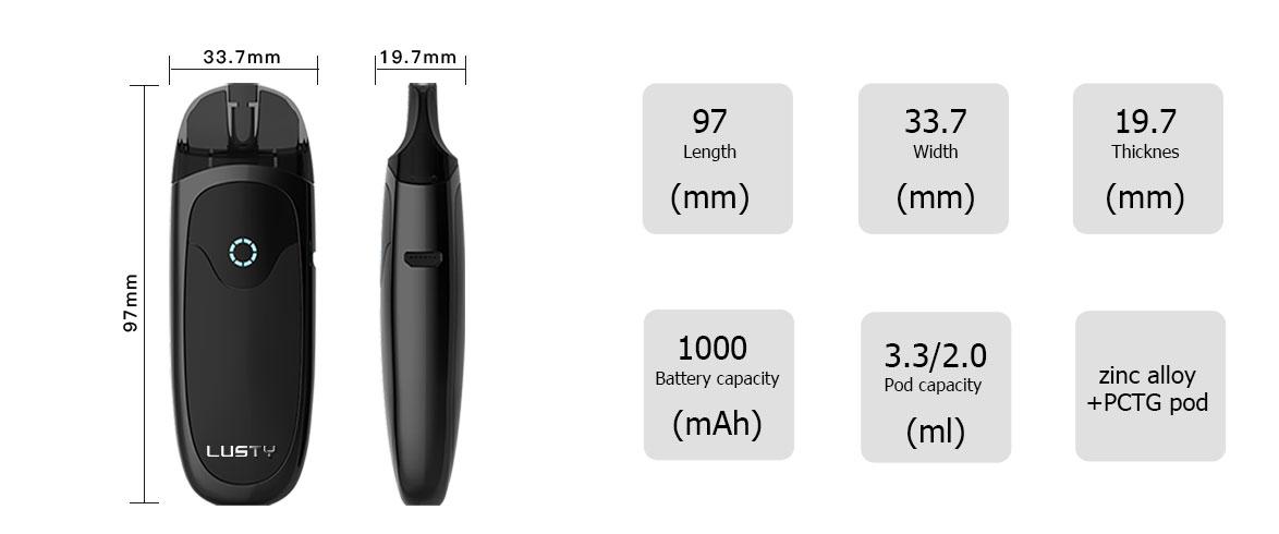Kit Lusty Pod - 3.3ml - 1000mAh - Nevoks - Taille