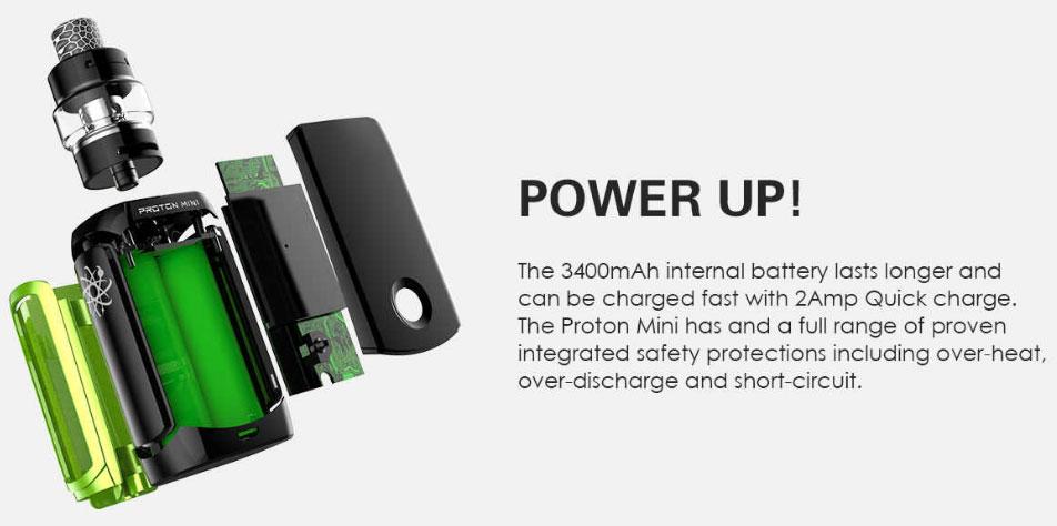 Kit Proton Mini 120W 3400mah avec Ajax 5ml - Innokin - Autonomie