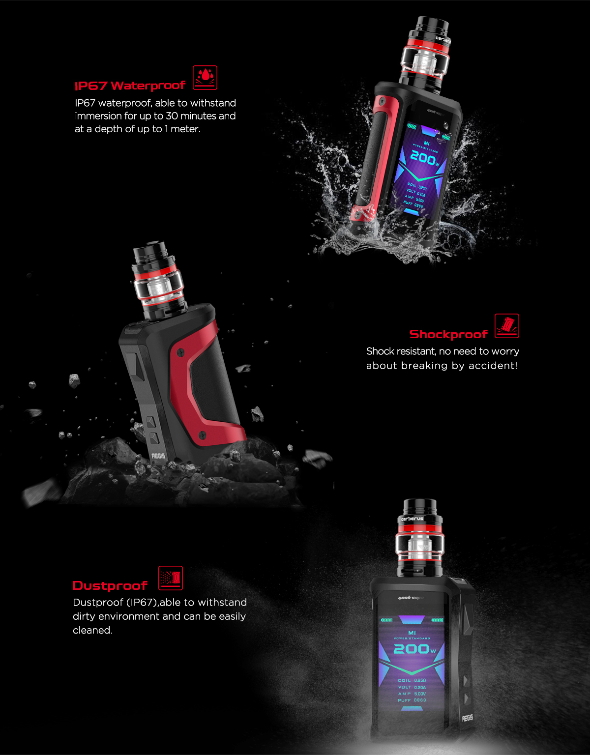Mod Aegis X 200W TC - GeekVape - Ultra résistant aux chocs, étanche jusqu'à 1 mètre, anti-poussiére