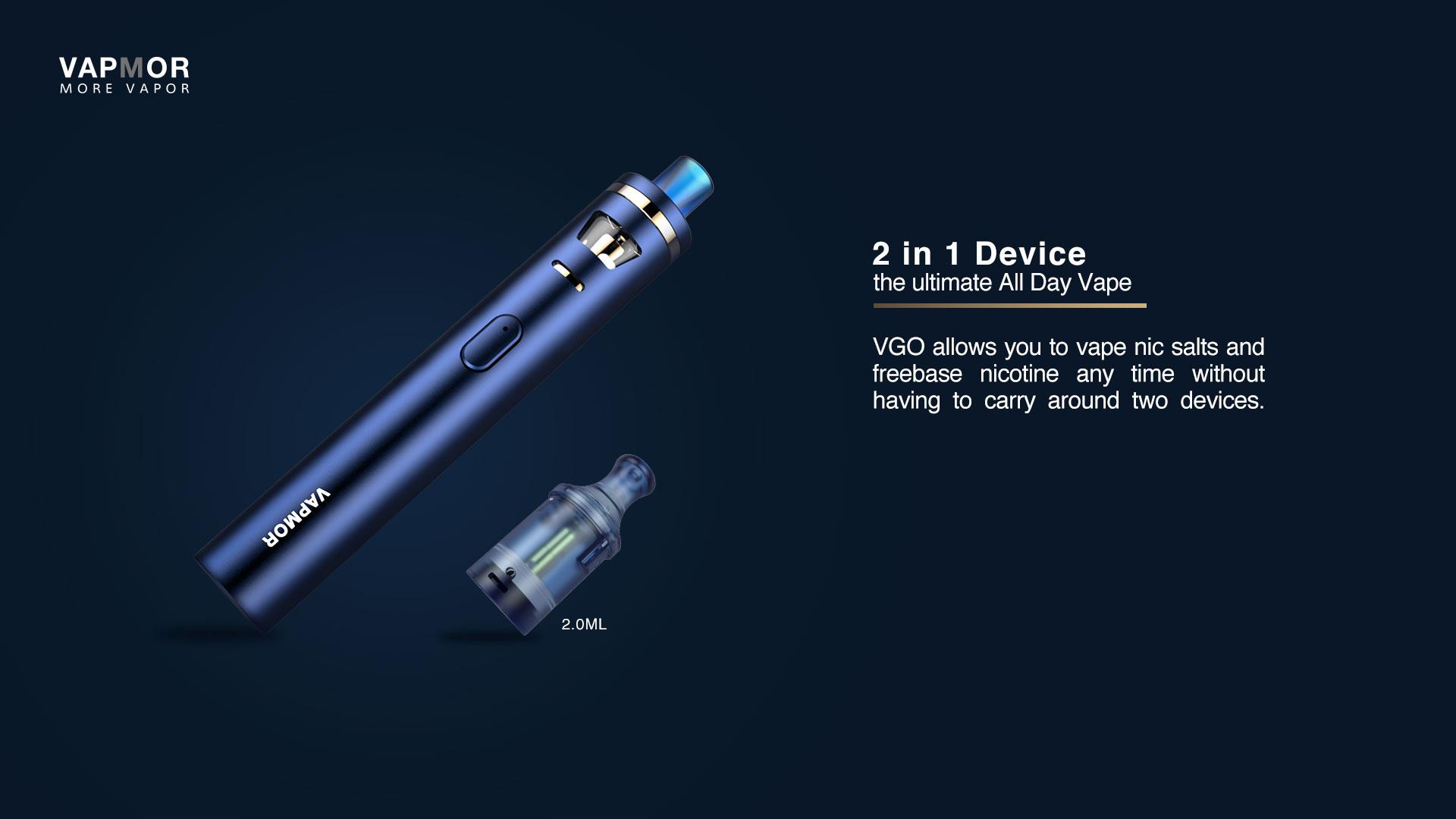 Kit VGO 1500mah avec Ato VGO 2ml & Pod VGO 2ml VapMor - 2 en 1