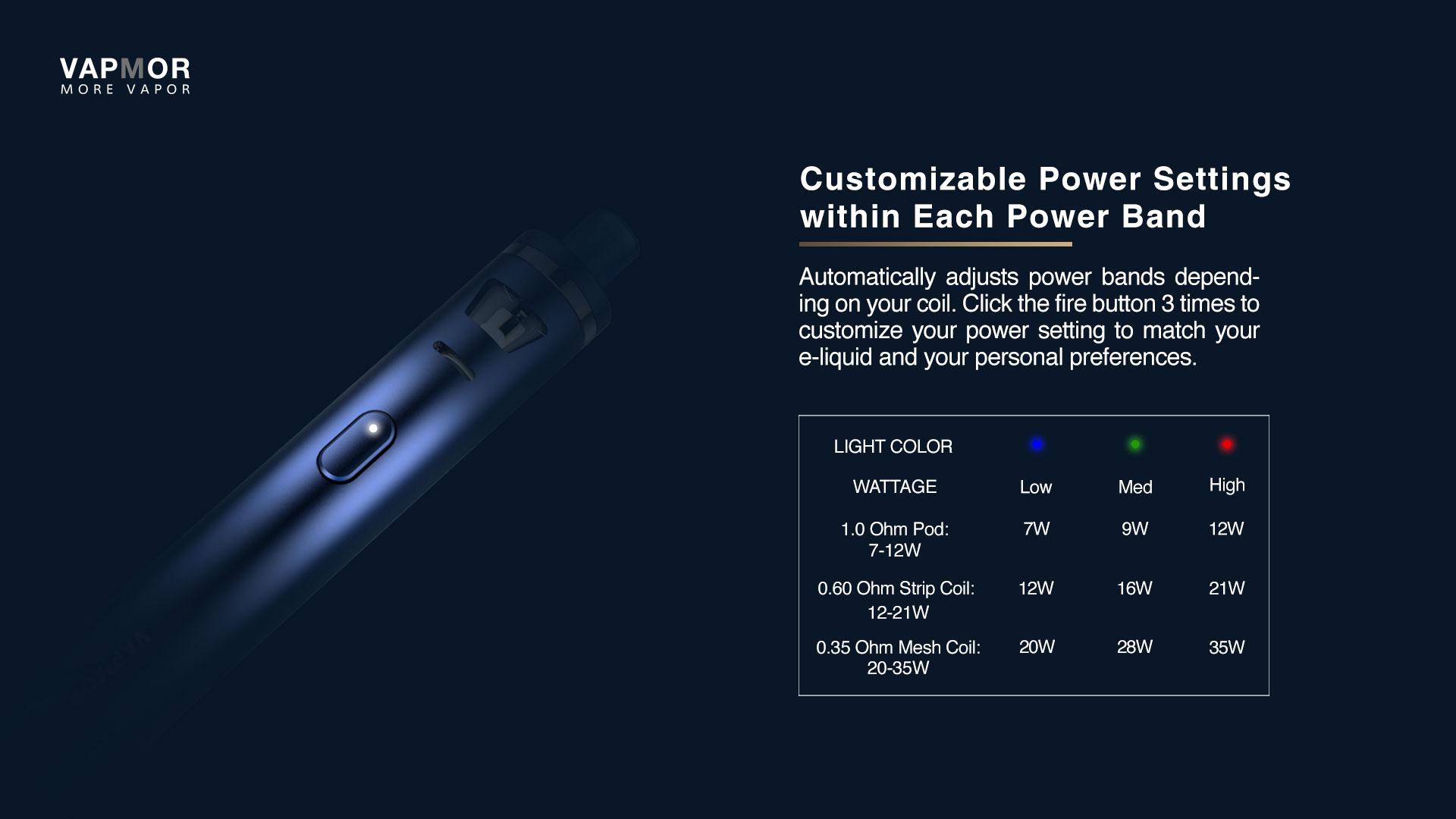 Kit VGO 1500mah avec Ato VGO 2ml & Pod VGO 2ml VapMor - 3 niveaux de puissance
