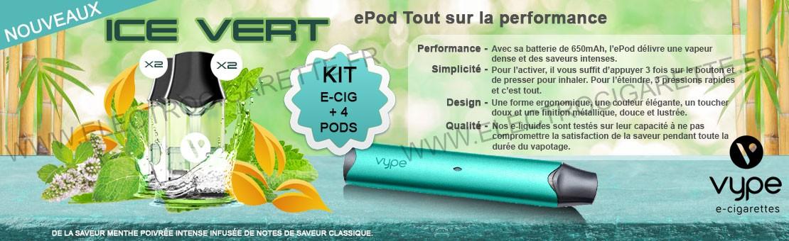 Kit ePod avec la nouvelle saveur Classic Ice Vert