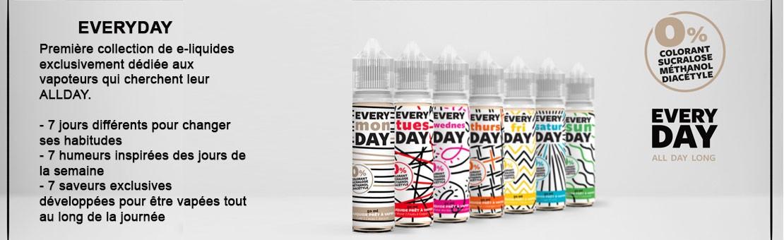 Première collection de e-liquides exclusivement dédiée aux vapoteurs qui cherchent leur ALLDAY.
