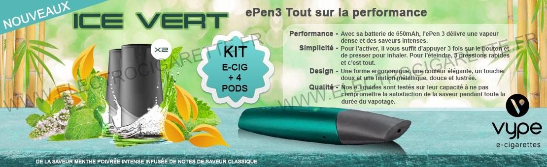 Kit ePen 3 avec la nouvelle saveur Classic Ice Vert